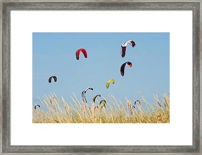 Kites Of Kite Surfers In Front Of Hotel Framed Print by Ben Welsh
