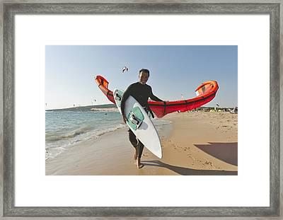Kitesurfer On The Beach Tarifa Cadiz Framed Print by Ben Welsh