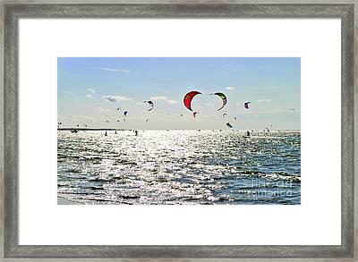 Kitesurfing In The Sun Framed Print