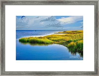 Kitesurfing On Ocracoke Outer Banks Framed Print by Dan Carmichael
