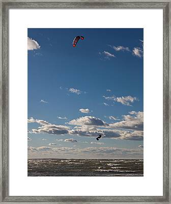 Kitesurfing The Long Island Sound Framed Print by June Jacobsen