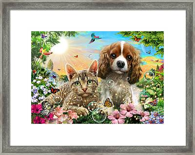 Kitten And Puppy Framed Print by Adrian Chesterman