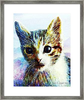 Framed Print featuring the painting Kitten  Close by Hartmut Jager