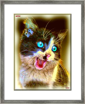 Framed Print featuring the painting Kitten by Daniel Janda
