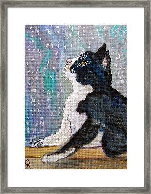 Framed Print featuring the painting Kitten In The Window by Ella Kaye Dickey