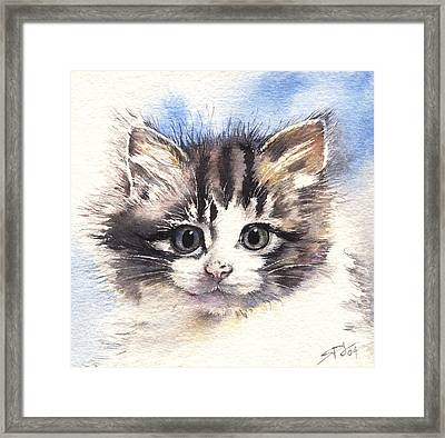 Kitten Lily Framed Print