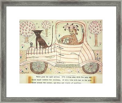 Kitten On Car Framed Print by Eleanor Arbeit