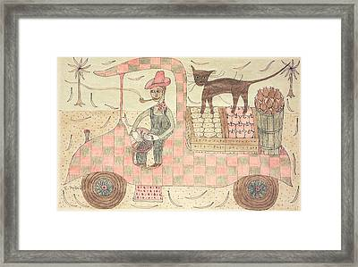 Kitten On Truck Framed Print by Eleanor Arbeit