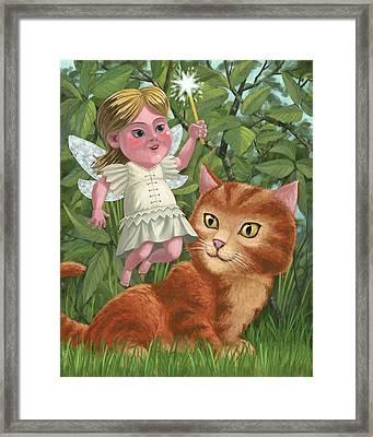 Kitten With Girl Fairy In Garden Framed Print by Martin Davey