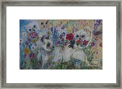 Kittens In Wildflowers Framed Print