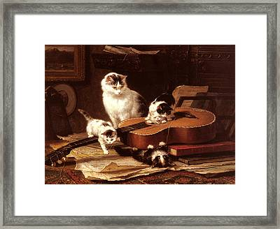 Kittens Playing With A Guitar Framed Print by Henriette Ronner Knip