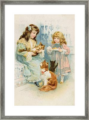 Kittens Tea Party  Framed Print by Anonymous