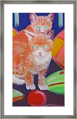 kittens With A Ball of Wool Framed Print