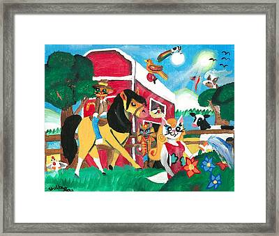 Kittie On The Farm Framed Print by Artists With Autism Inc