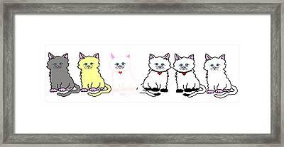Kitties In A Row Framed Print