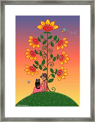 Kitty And Bumblebees Framed Print by Victoria De Almeida