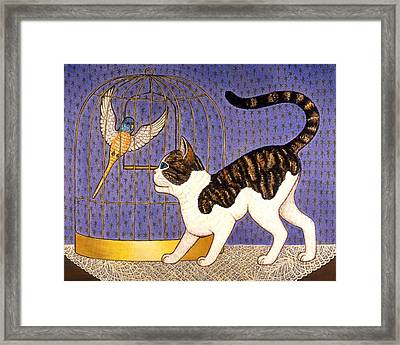 Kitty And Parakeet Framed Print by Linda Mears