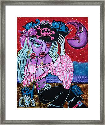 Kitty Cat Buccaneer Framed Print by Laura Barbosa