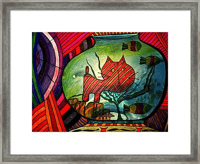 Kitty In A Fish Bowl - Abstract Cat Framed Print