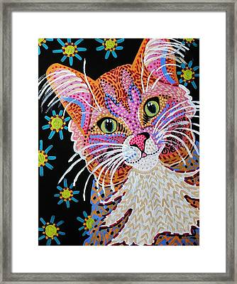 Pink Kitty From Krelly Art Framed Print