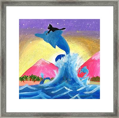 Kitty On A Dolphin Framed Print by Artists With Autism Inc