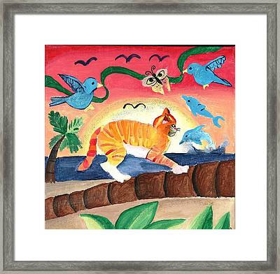 Kitty On Palm Tree Framed Print by Artists With Autism Inc