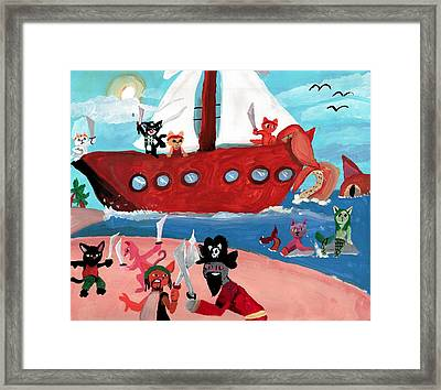 Kitty Pirates Framed Print by Artists With Autism Inc