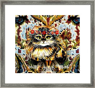 Kitty Wooden Pin Framed Print by Natalie Holland