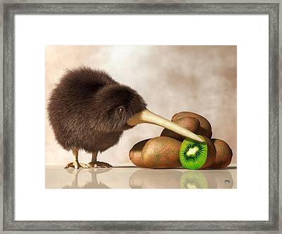 Kiwi Bird And Kiwifruit Framed Print