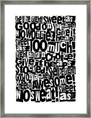 Kiwi Sayings Framed Print