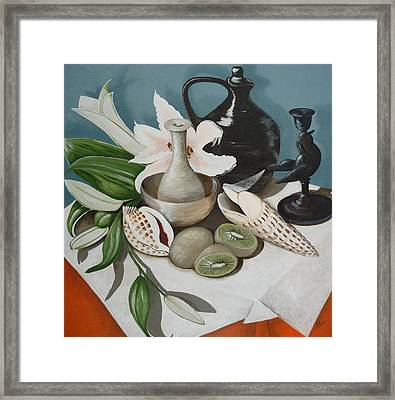 Framed Print featuring the painting Kiwifruit by Helen Syron