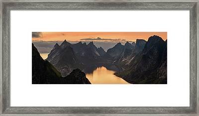 Kjerkfjorden Among Dramatic Mountain Framed Print