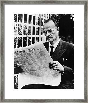 Klaus Fuchs Framed Print by Emilio Segre Visual Archives/american Institute Of Physics