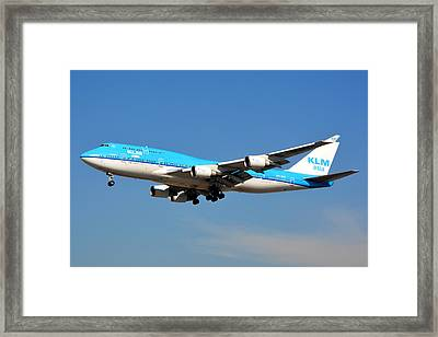 Klm Asia Boeing 747-406 Ph-bfp Lax January 19 2015 Framed Print by Brian Lockett