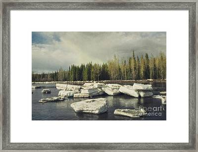 Klondike River Ice Break Framed Print by Priska Wettstein