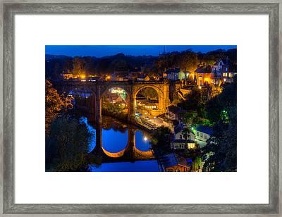 Knaresbrough Viaduct Night Reflection Framed Print by Dennis Dame