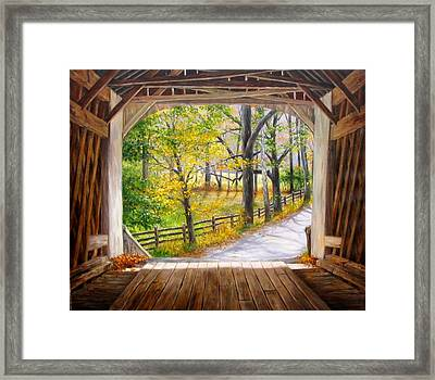 Knecht's Covered Bridge Framed Print by Helen Lee Meyers