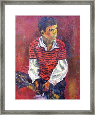 Framed Print featuring the painting Kneeling Boy by Walter Fahmy