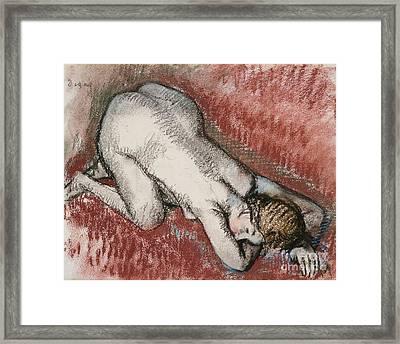Kneeling Nude Woman Framed Print by Edgar Degas