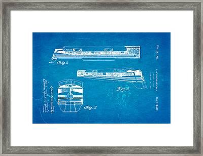 Knickerbocker Locomotive Patent Art 1939 Blueprint Framed Print by Ian Monk