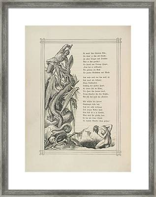 Knight And Dragon Framed Print by British Library