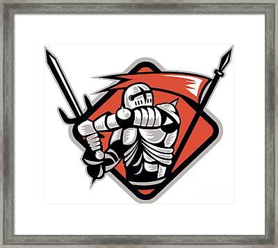 Knight Crusader With Sword Flag Retro Framed Print by Aloysius Patrimonio