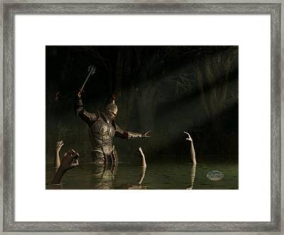 Knight In A Haunted Swamp Framed Print