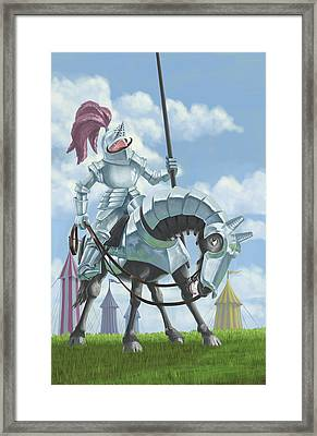Knight In Shining Armour On Horesback Framed Print by Martin Davey
