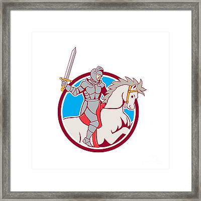 Knight Riding Horse Sword Circle Cartoon Framed Print by Aloysius Patrimonio