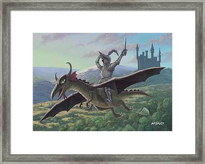 Knight Riding On Flying Dragon Framed Print by Martin Davey