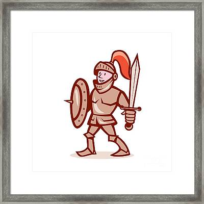 Knight Shield Sword Cartoon Framed Print by Aloysius Patrimonio