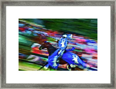 Knight With Armor Riding A Horse Framed Print