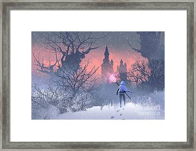 Knight With Trident In Winter Framed Print
