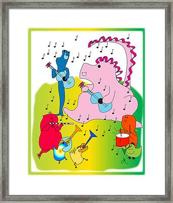 Knightly Dragon Plays Guitar Framed Print by Chris Morningforest